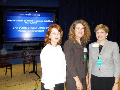 White House Judicial Vacancy Briefing, May 7, 2012NCWBA President Pam Berman (right) and past NCWBA presidents Mary Sharp and Cezy Collins