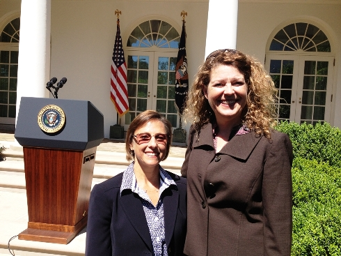 Andrea Carlise and Cezy Collins in White House Rose Garden.